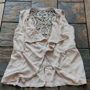 Maurices  Waterfall Tan Vest with Lace Detail M